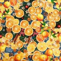 Бумага упаковочная глянцевая «Пряные мандарины», 70×100см