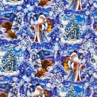 Бумага упаковочная глянцевая «Дедушка Мороз в лесу»,70×100см