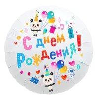 """Шар фольгированный 18"""" «С днём рождения», круг, панды"""