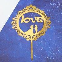 Топпер Love, акрил, цвет золотой