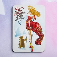 Деревянный магнит «From Russia with love»