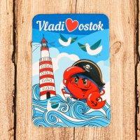 """Магнит «Владивосток»"""" (Краб Пират на фоне маяка)"""