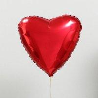 """Шар фольга 18"""", сердце, красный металик"""