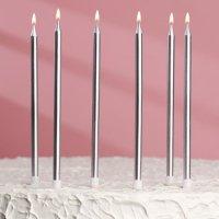 """Свечи в торт """"С днём рождения"""" Серебристый металлик"""