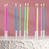 """Свечи для торта """"С Днём Рождения"""", неоновые, 10 шт"""