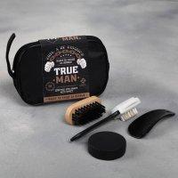 Набор дорожный для обуви «True man»: щётка 2 шт., губка, лопатка