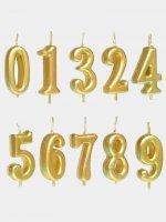 Свеча-цифра в торт Золото