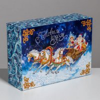 Складная коробка «Тройка лошадей», 22×30×10 см